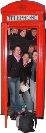 Christians in a phonebox