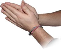 The classic clasped hands praying posture - these hands belong to a Christian